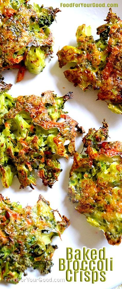 The search to satisfy your cravings for something crunchy and healthy is finally over...   Baked Broccoli Crisps   Full RECIPE on http://FoodForYourGood.com #broccoli_crisps