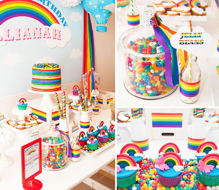 Rainbow themed 1st birthday party full of fabulous ideas via Kara's Party Ideas Kara Allen KarasPartyIdeas.com #rainbowcupcakes #rainbowpart...