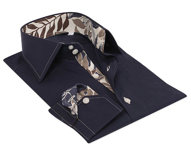 Navy blue / Tan tea leave Cotton Shirt 100% Italian cotton fabric Made in Italy Straight fit (slim fit optional)