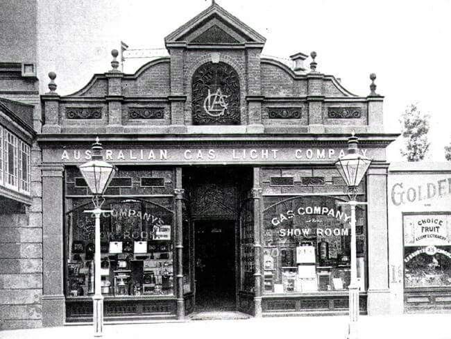 Australia Gas Light Company (AGL) in Pitt Street., Haymarket,Sydney (Undated photo).This was the first AGL business in Australia which started in 1841.