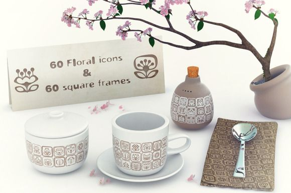 60 vector floral icons set & frames by GivArt on @creativemarket