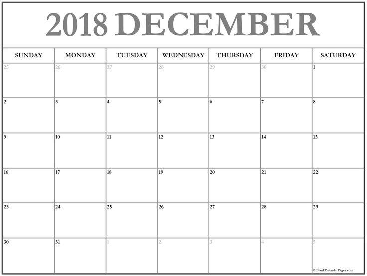 Blank December 2018 Calendar #BlankCalendar #2018BlankCalenadr