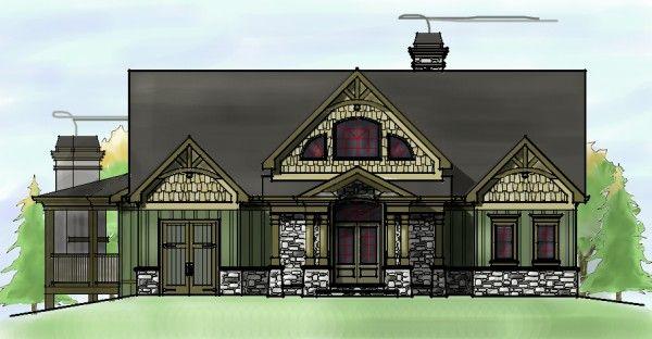 Craftsman Style Mountain House Plan Sloping Lot Lake