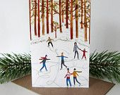 Ice skaters Illustrated Christmas Card by Stephanie Cole Design