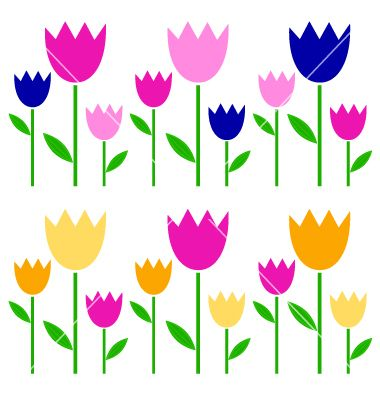 Colorful spring tulips set isolated on white vector 1247483 - by lordalea on VectorStock®