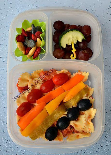 rainbow bento vegetarian leftover pasta goldfish easylunchboxes umbrella school lunch. Black Bedroom Furniture Sets. Home Design Ideas