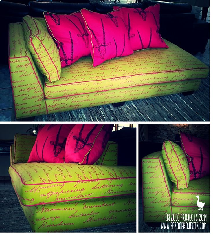 Couch: re-upholsterd in lime and pink printed fabric. www.bezooprojects.com