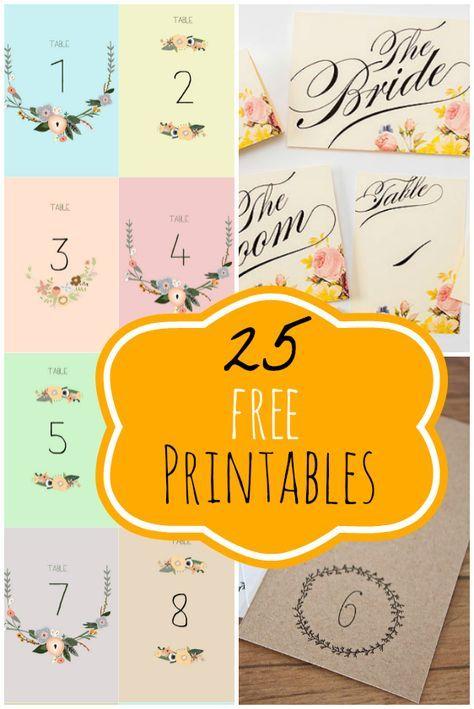 Gratis Vorlagen für deine Tischnummerierung ❤ Free Printable Table Numbers