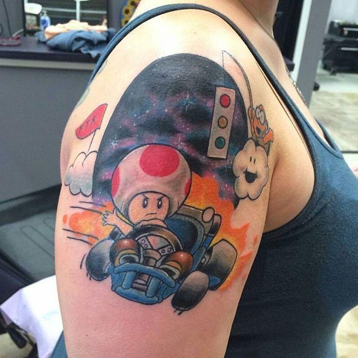 """""""Mario Kart tattoo by @silkytattoos #mariokart #nintendo #toad #videogametattoo  #mariokarttattoo Thanks again Katie! =) """""""