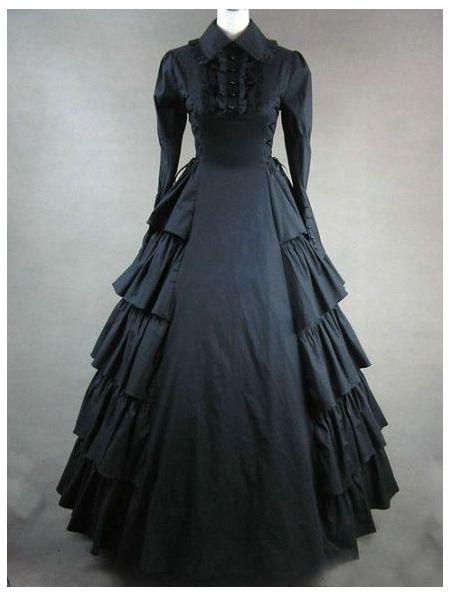 BLACK CLASSIC GOTHIC VICTORIAN DRESS