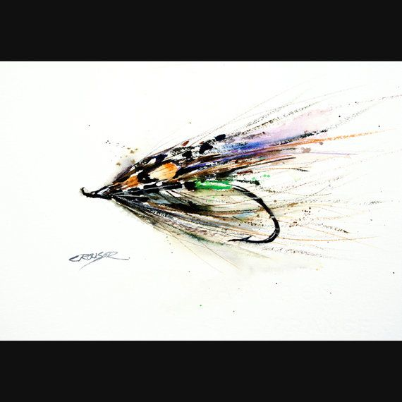 Fly fishing watercolor print fly art fly painting by for Fly fishing gifts