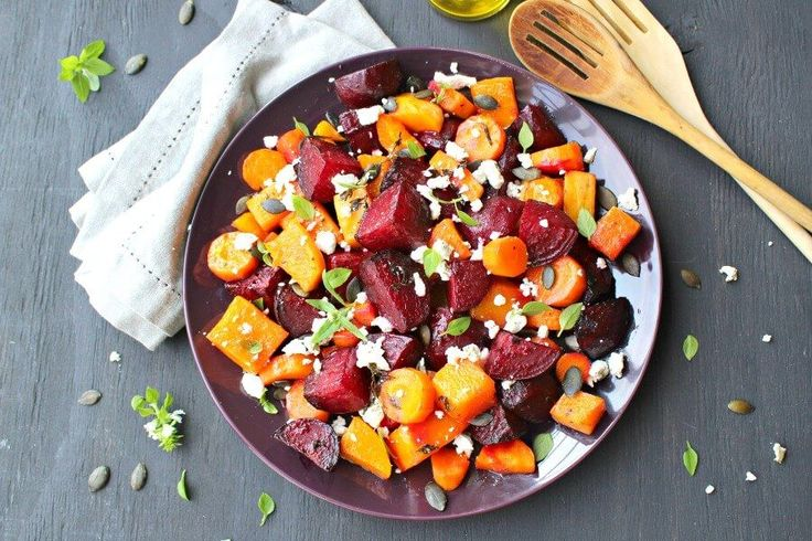 Low carb and easy to make, packed with nutrients, this Roast Beet Butternut Basil Goat Cheese Salad is a delicious side dish or light vegetarian meal.
