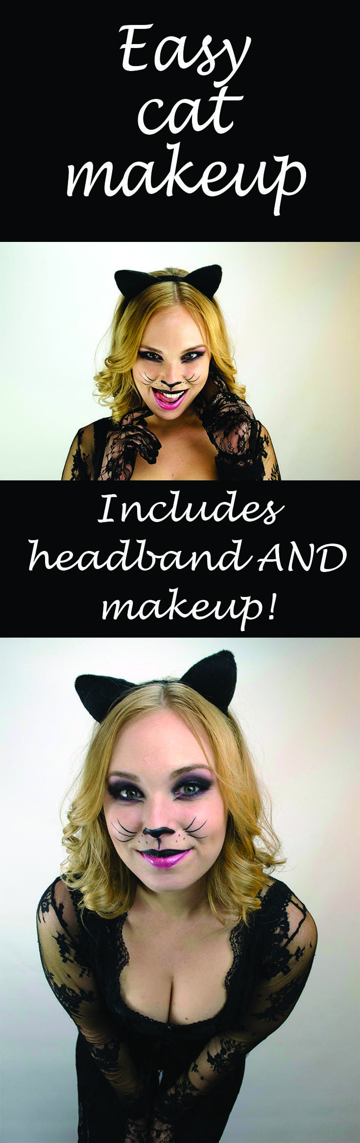 Simple cat makeup for those who want to add some character to that little black dress. Woochie's headbands slip right on and include the necessary colors to finalize the look.  Available this Halloween!