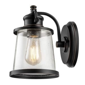 Globe Electric Charlie Collection Oil Rubbed Bronze LED Outdoor Wall Sconce  With Clear Seeded Glass Shade