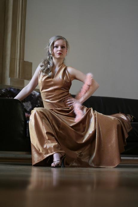 Mode, Gold, Dress