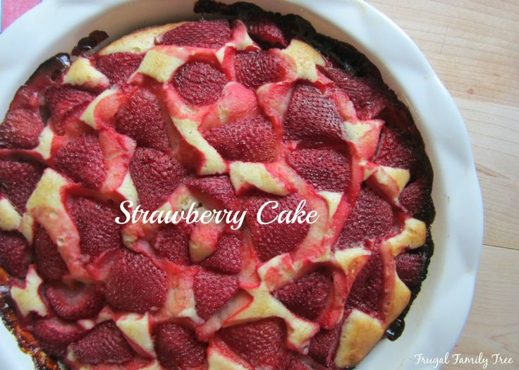 An easy-to-make recipe for Strawberry Cake from Frugal Family Tree.