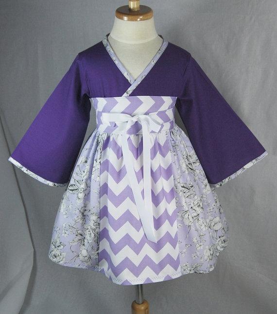 Little Girls Dress in Purple Chevrons  Kimono by pinkmouse on Etsy, $49.00