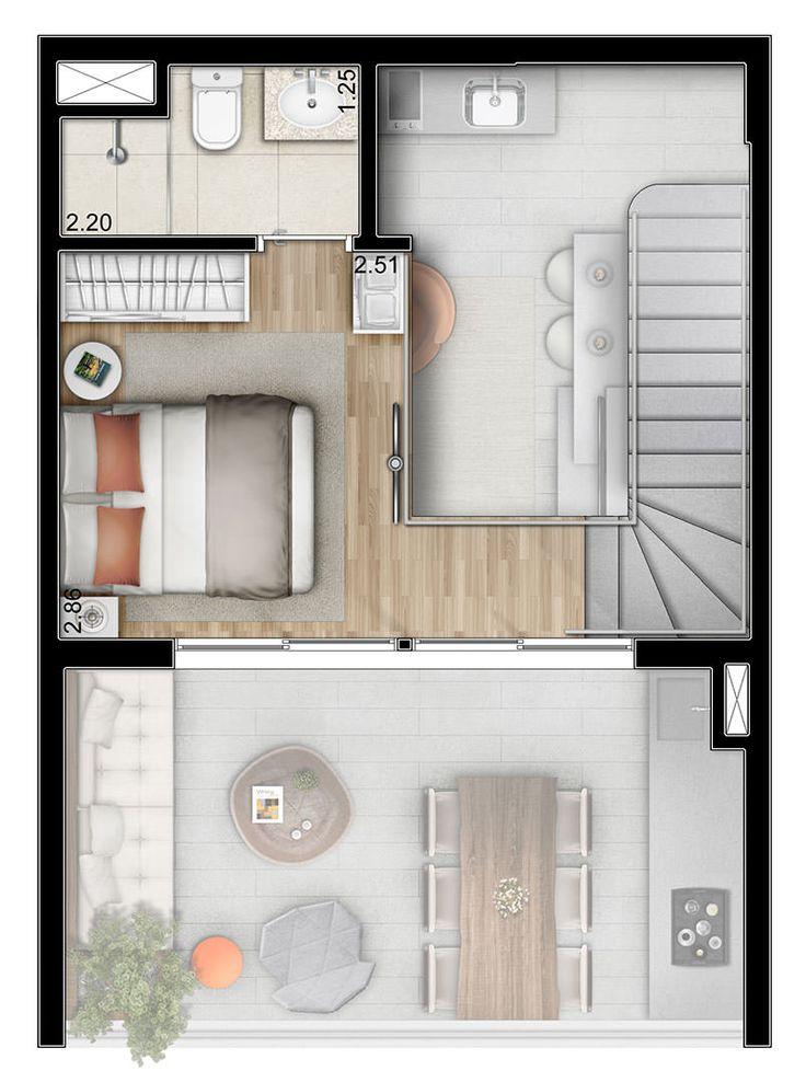 Planta do duplex pavimento superior 55m ideas para for Diseno apartamentos duplex pequenos