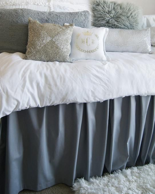 "36"" Long Bed Skirts - Designed To Hide The Under Bed Storage in Dorm Rooms"