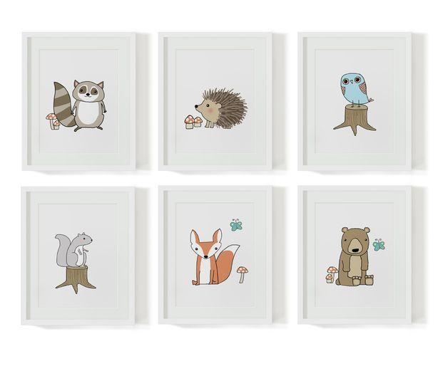 """Bilder - 6 Kinderzimmerbilder """"Waldtiere"""" - ein Designerstück von nanajuu bei DaWanda"""
