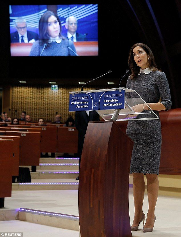 On Tuesday, Crown Princess Mary of Denmark arrived in Strasbourg, France to speak at the P...