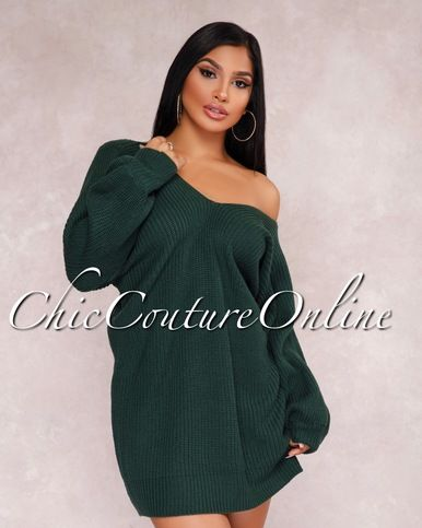 Carmella Dark Green Sweater Dress