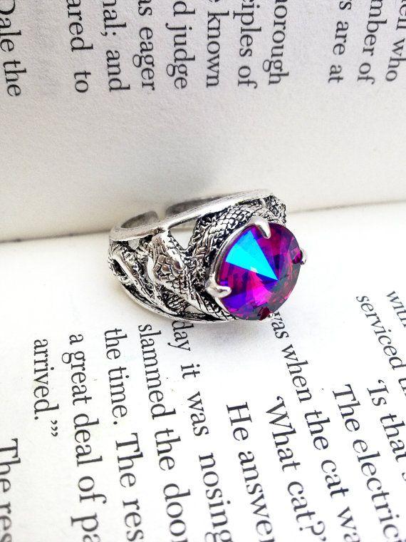 Swarovski Ring Gothic Ring Snake Ring Unisex Goth Ring Serpent Ring Gothic Jewelry