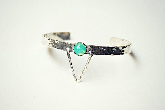 sterling silver triangle cuff bracelet green opal by alapopjewelry
