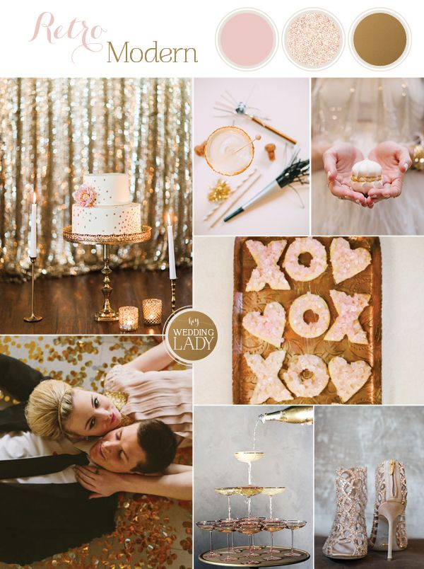 Find the cake I made, top left! Sparkling Blush, Champagne, and Gold Retro Meets Modern Wedding Inspiration for New Years!