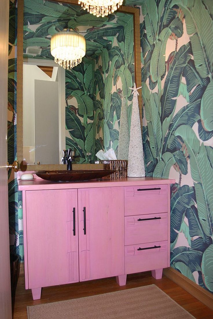 Custom Pink Vanity For The Smart, Tropical Bathroom [Design: Dodd Holsapple] Part 58