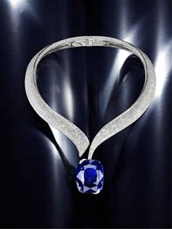 Natural Blue Sapphire Necklace with Pave Diamonds