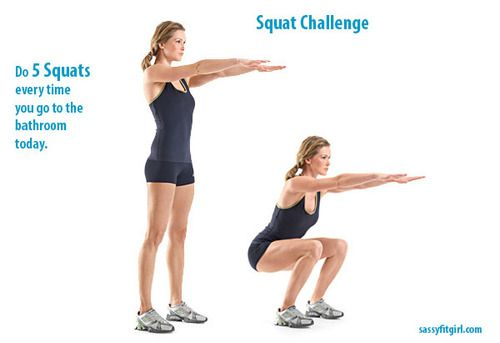 Bathroom Squat Challenge. Do 5 Squats every time you go to the bathroom. #exercise #fitness #squats