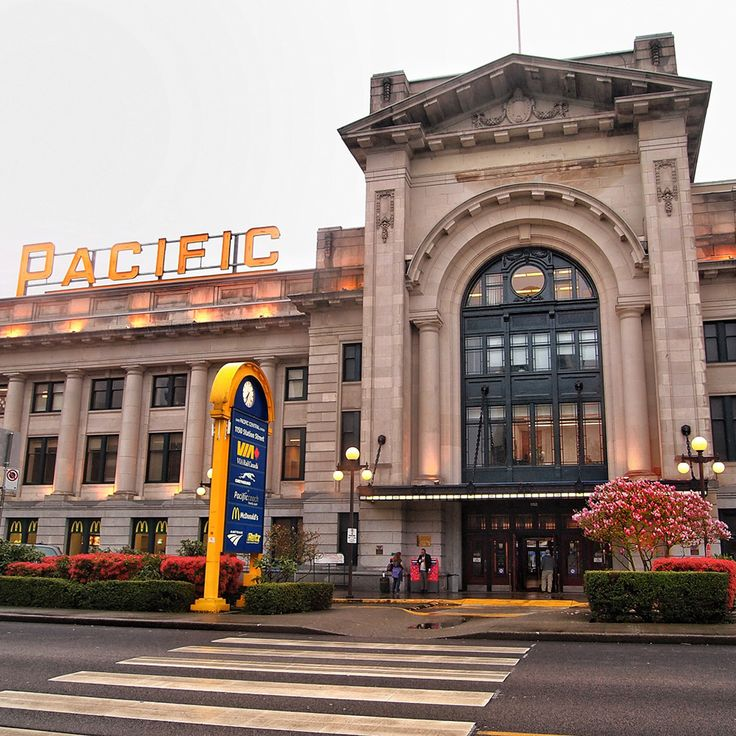 Vancouver's Pacific Central Station. Via and Amtrak Cascades.