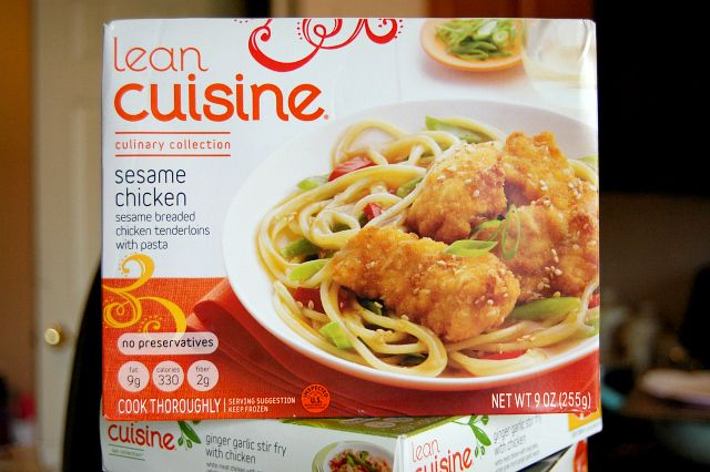 Lean Cuisine is exemplary of American society's attitude toward weight loss. It shows the focus on low calorie and low carb diets that have an ultimate goal of thinness rather than of good health. Additionally, the pre-made aspect of Lean Cuisine meals fuel the on the go lifestyle associated with many Americans. It also adds to the critique of the general population's laziness in regards to them no longer wanting to prepare their own food from scratch.
