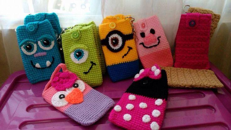 Porta celulares a crochet
