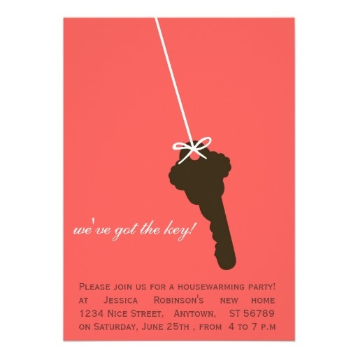 Cute pink key housewarming party invitations for Unique housewarming ideas