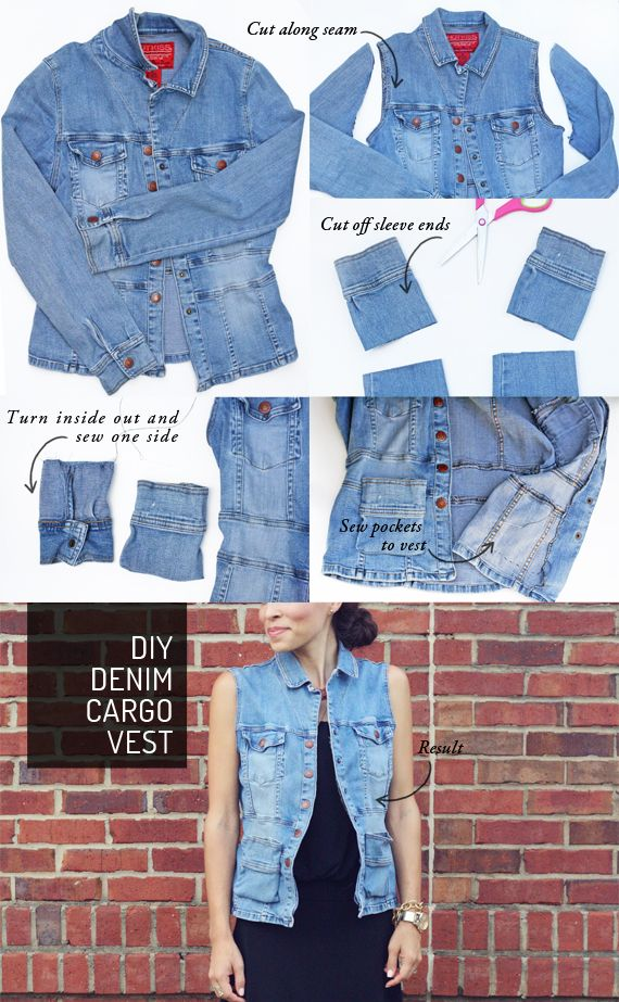 DIY: denim cargo vest  . . . i just happened to have a jean jacket or two that could use some revamping!!