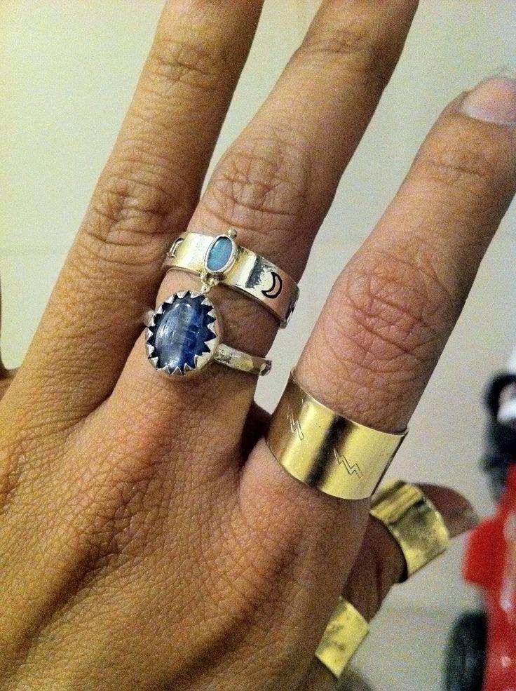 Hand stamped n handmade kyanite silver ring