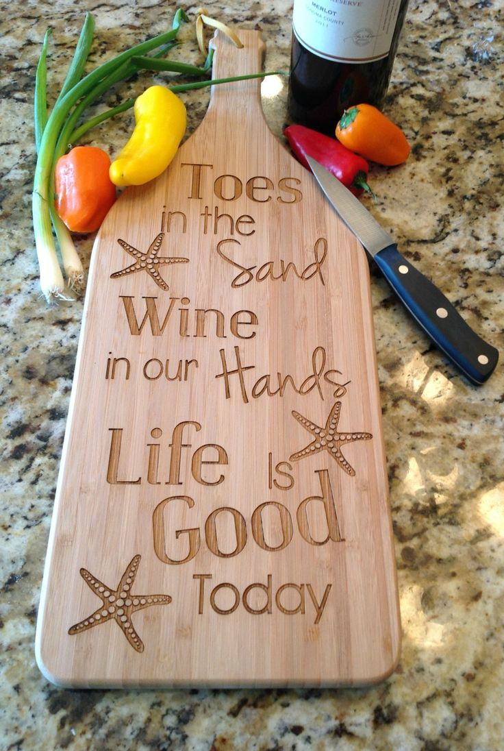 Beach quote decorative cutting board: http://www.completely-coastal.com/2016/05/coastal-nautical-kitchen-gadgets.html Great kitchen accent. This beach quote cutting board looks great on the wall too!