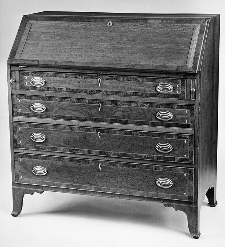 "Fig. 58: Desk by John Swisegood, 1817, Davidson Co., NC. Walnut and cherry with walnut, yellow pine, and light- and dark-wood inlay; HOA: 43-1/4"", WOA: 40-1/2"", DOA: 20-1/2"". Private collection. MESDA Object Database file S-579. <a onclick='return hs.printImage(this)' href='#'>Print</a>"