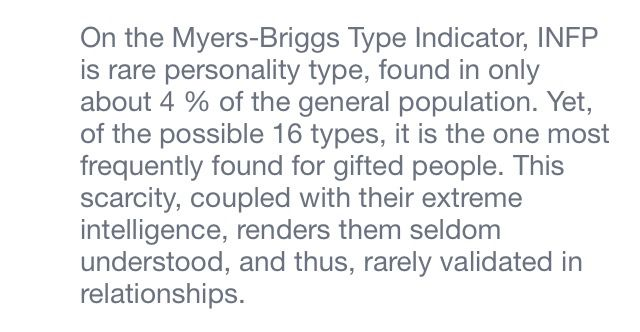 """I dont pin this to be seem """"smarter"""" or """"better"""" than people, im pinning for the part that says """"rarely validated in relationships."""" This is why we as INFP's feel misunderstood."""