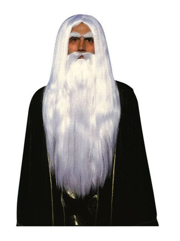Merlin Wizard Wig and Beard Adult Magic  Fantasy Costume Ideas - halloween costumes with beards ideas
