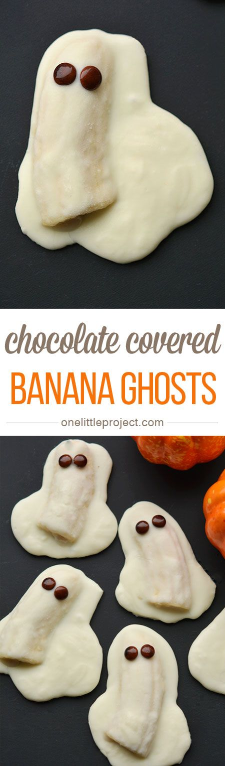 These chocolate covered banana ghosts are a quick and easy Halloween treat! And they are so DELICIOUS. Bananas and chocolate?! Mmmmm… : ) @1littleproject : Featured Post on Turn it up Tuesdays