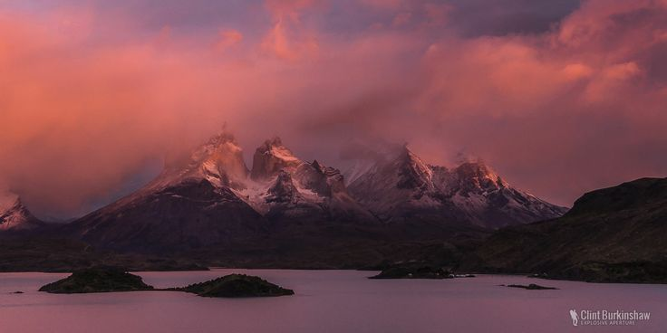 Sunset over Torres del Paine national park. This shot was nearly missed, due to bad weather, but I got up at 4am regardless. Lucky for me the sky opened up for 5 beautiful minutes, creating this awesome show of light, before covering back up again. This area of the world has some of the most craziest weather I've experienced.  #TravelPhotography #LandscapePhotography #Chile #Torresdelpaine #SouthAmerica