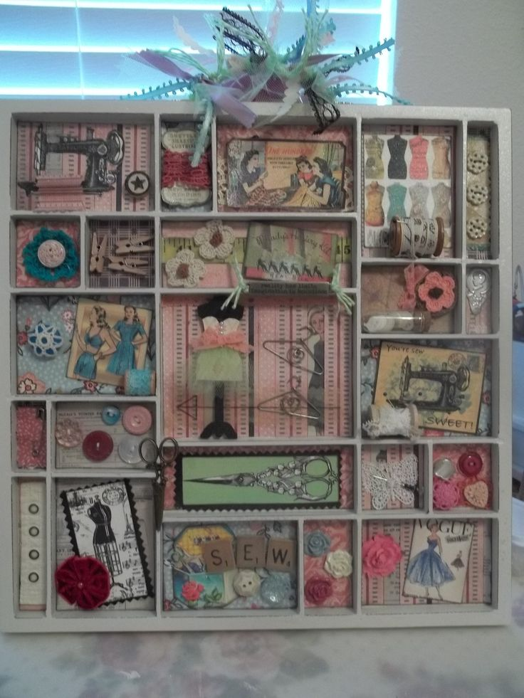 Letterbak - Wandbord - Vitrinekast *Shadow Box - Configuration Box ~Thema: Naaigerei *Sewing Kit~