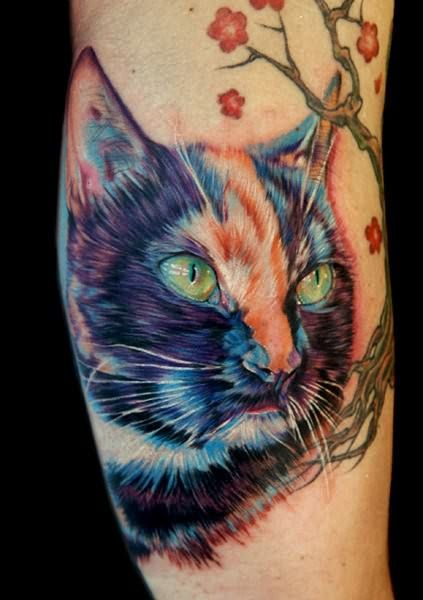 A realistic tattoo art portrait of a cat, complete with photorealistic lighting