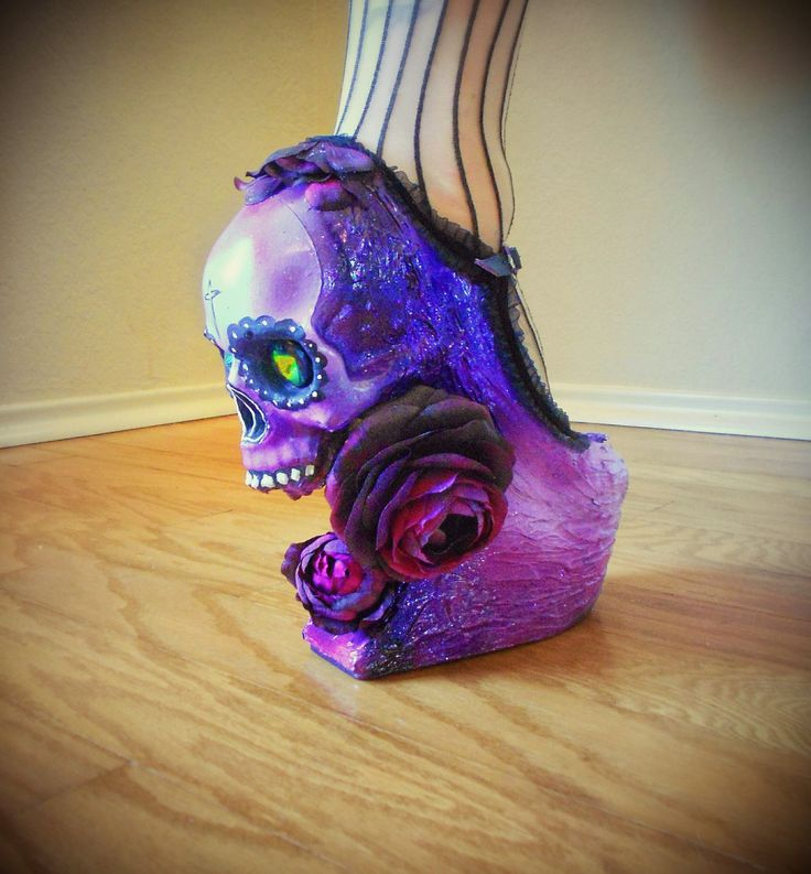 Sugar Skull Muerto Day of the Dead Heels by kaylastojek on Etsy, $175.00