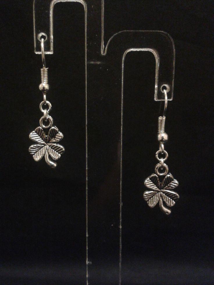 Boucles d'oreilles trèfle à quatre feuilles - argenté - 3.5 cm : Boucles d'oreille par l-ebauche-du-temps