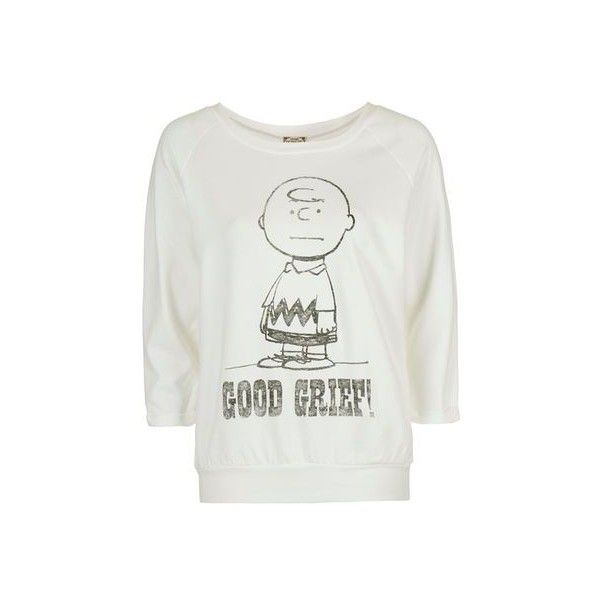 Charlie Brown Sweatshirt by Daydreamer ($56) ❤ liked on Polyvore featuring tops, hoodies, sweatshirts, cream, vintage tops, topshop tops, vintage sweatshirt, slouchy tops and cream top
