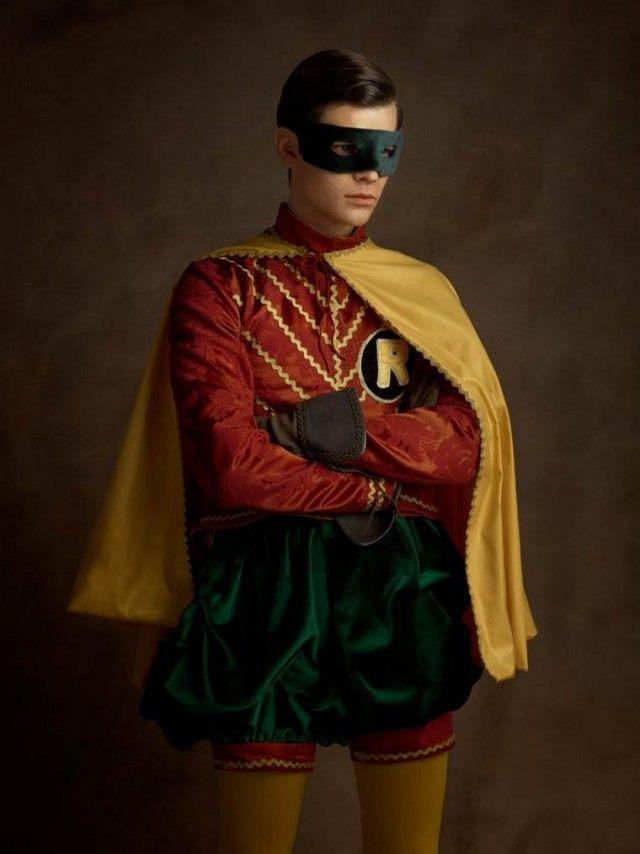 """Super Heroes meet Flemish Art - * """" Portrait du page de l'homme masqué avec des oreilles en pointes.. """" - « Portrait of the masked man with pointed ears squire. » - Photographer : Sacha Goldberger"""
